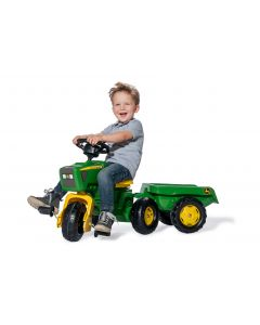 Rolly 05/276/9 John Deere Trio Trac with Electronic Steering Wheel & Trailer