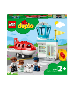 LEGO 10961 DUPLO Town Aeroplane & Airport Playset with Airplane and Pilot Figure