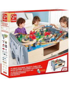 Hape E3766 70 Piece Railway Train Set and Table with Battery Powered Locomotive and Removable Playmat Surface for Kids 3 Years and U