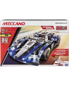 Meccano 6044495 - by Erector – 25-Model Supercar S.T.E.A.M. Building Kit with LED Lights, for Ages 10 and Up