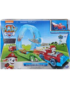 PAW Patrol 6058363 - True Metal Ultimate Fire Rescue Track Set with Exclusive Marshall Die-Cast Vehicle, 1:55 Scale